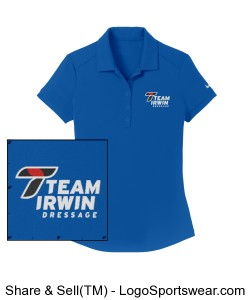 Nike Women's Polo T on Sleeve in Bright Blue Design Zoom